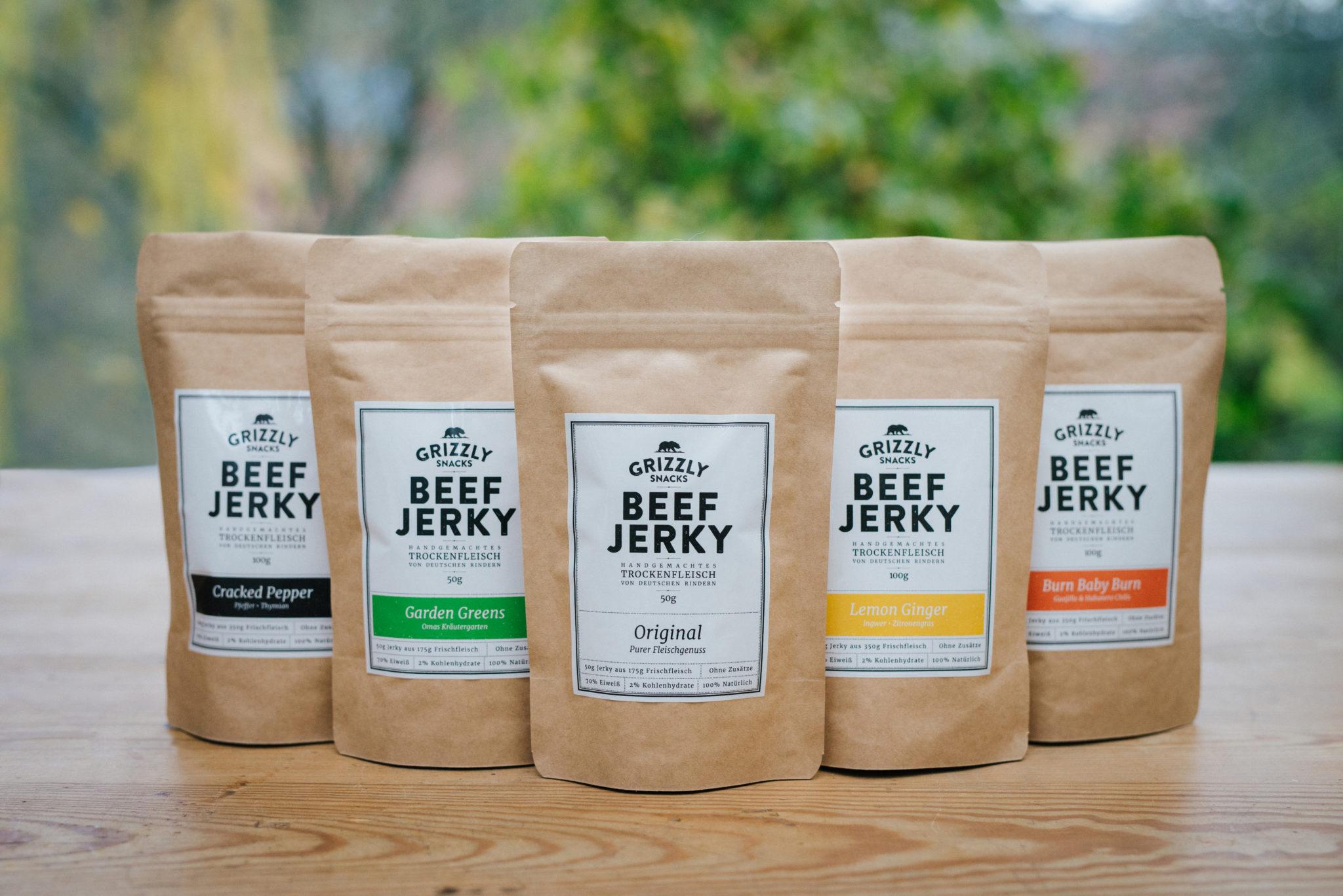 Beef Jerky: 5 Sorten von Grizzly Foods