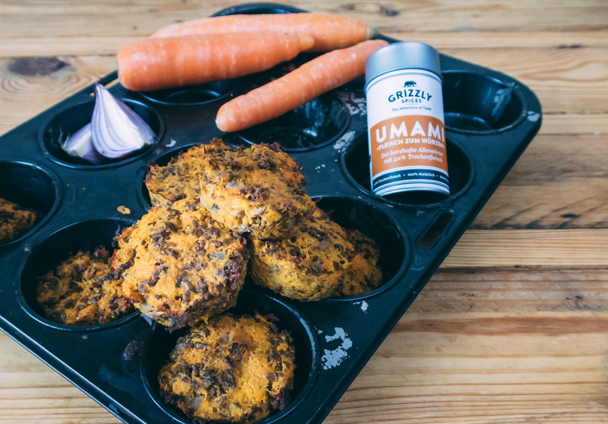 Hackfleisch-Karotten-Muffins mit UMAMI